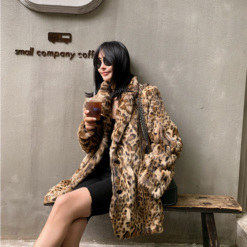Leopard fur suit jacket Rex rabbit fur in one long fur coat Haining