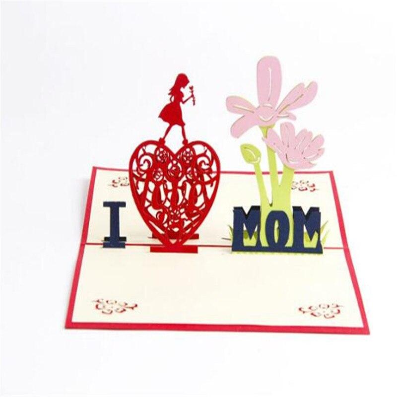 1pcs 3d flower handmade pop up greeting cards kirigami