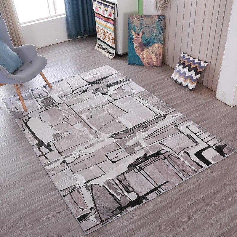 Européenne moderne Noir et blanc géométrie Personnalité tapis salon canapé table basse tapis Hôtel porche chambre tapis de chevet