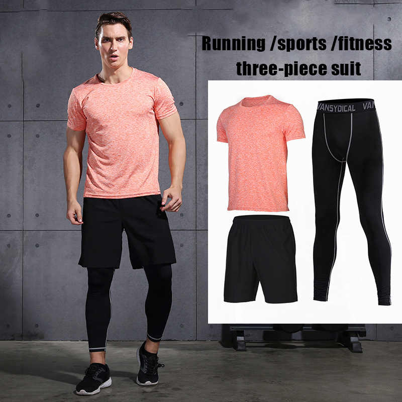 2020 Gym Running Sets Mannen Fitness Compressie Panty Sportkleding Stretchy Training Sportkleding Joggingpakken 3 Pcs