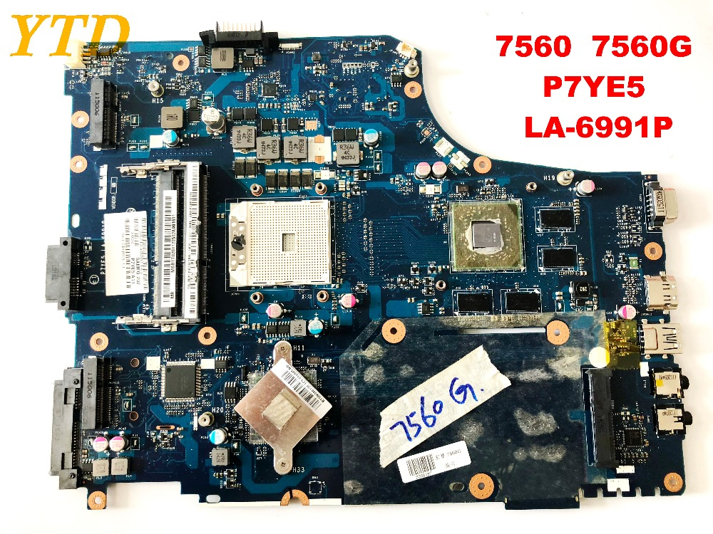 Original For ACER 7560 7560G  Laptop Motherboard 7560  7560G  P7YE5  LA-6991P  Tested Good Free Shipping