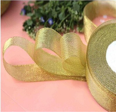 25 yards golden ribbon wedding party decoration christmas new year webbing invitation card gift wrapping riband free shipping in ribbons from home garden