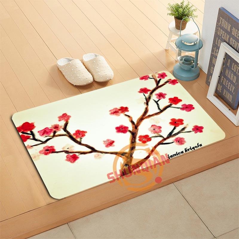 Decorative Shower Mats : Custom cherry blossoms doormat bath mats foot pad home