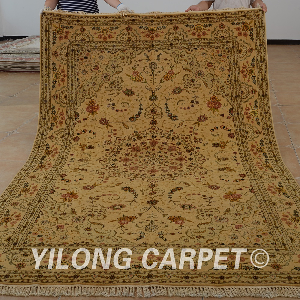 Yilong 6 X9 Oriental Silk Wool Carpet Golden Thick