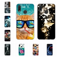 For Huawei P Smart Plus Cover Slim Soft TPU Silicone Case Rose Patterned nova 3i Shell Coque