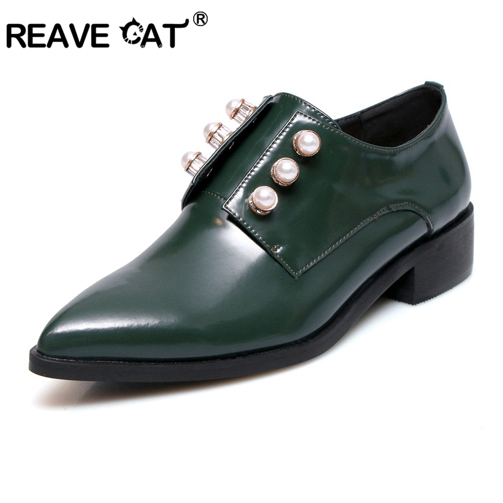 Reave cat 가을 플랫 여성 신발로 퍼스 특허 가죽 우아한 로우 힐 슬립 신발 여성 지적 발가락 진주 귀여운 a1570-에서여성용 플랫부터 신발 의  그룹 1