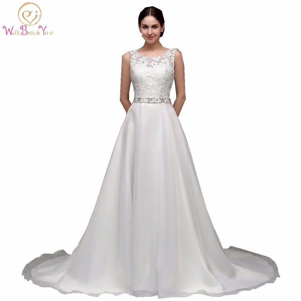 2019 A line Style Cheap Wedding Dresses Walk China Lace Top Long Train Bridal Gowns Beaded