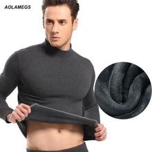 Aolamegs Мужчины тепловые underwear высокий воротник хлопок толщиной теплая зима мужская одежда лонг джонс костюм hot underwear наборы плюс размер