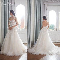 Boho Wedding Dress 2018 Long Appliques Spaghetti Straps Floral Beach Wedding Gown Tulle Bridal Dresses Open Back robe de mariage