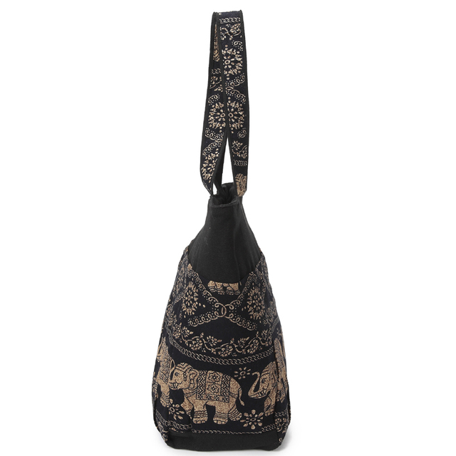 Large Capacity Canvas Tote Bag Elephant Printed Women Tote Bags Canvas Patchwork Handbags Top Handle Cotton Totes 3