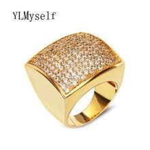 Золотое кольцо с большим квадратным кольцом высокое качество