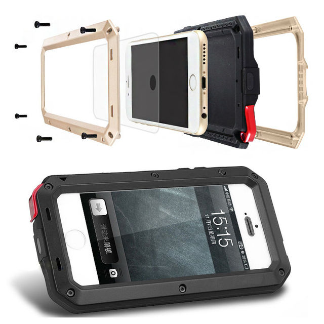 Heavy duty armadura resistente à prova de choque de metal híbrido anti choque prova case para iphone 6 s 6 s plus 6 mais tampa do telefone capinha coque
