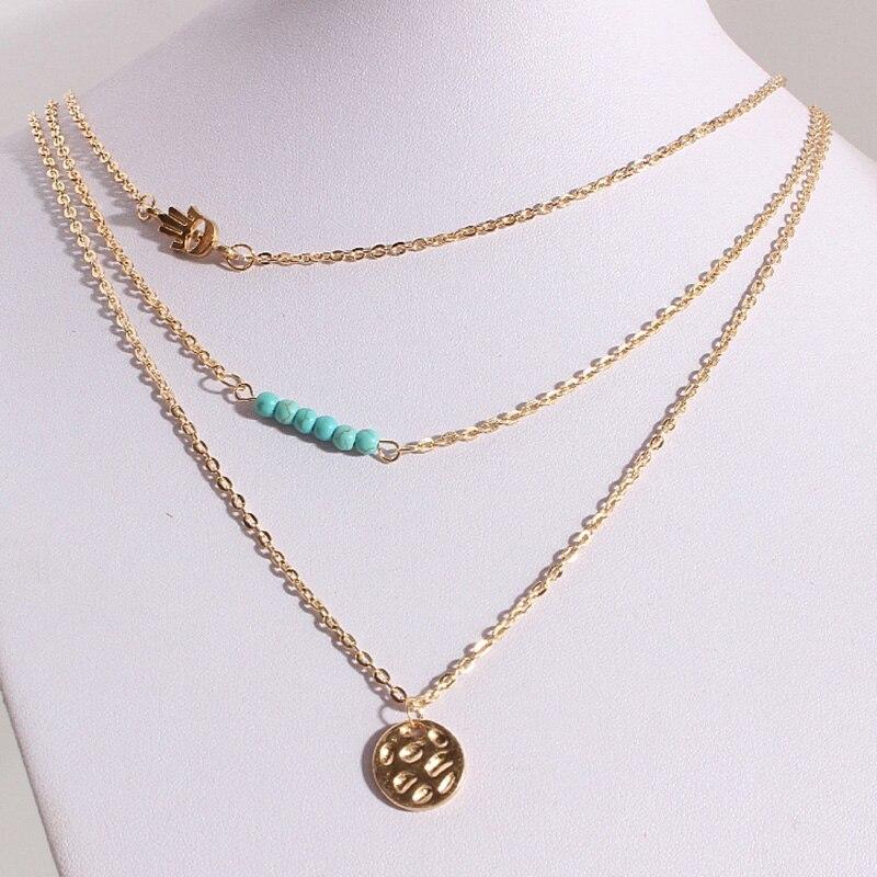 Multilayer Bohemian Palm round shape pendant necklace vintage Blue Beads chocker necklace  Jewelry for women necklaces Ожерелье