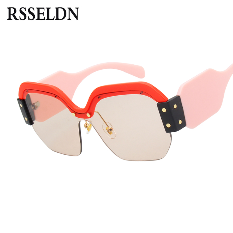 RSSELDN Newest Half Frame Sunglasses Women Brand Designer Square Sun glasses Women Fashion Sunglass Men Blue Integrated Shades