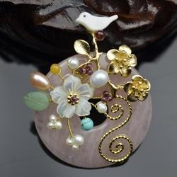 Amxiu индивидуальные натуральный розовый кристалл кулон и брошь птица цветочные броши аксессуары жемчуг оболочки позолоченные украшения