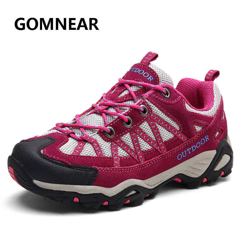 GOMNEAR Autumn Women Light Hiking Shoes Breathable Suede Mesh Sports Outdoor Sneakers Antiskid Walking Tourism Trekking