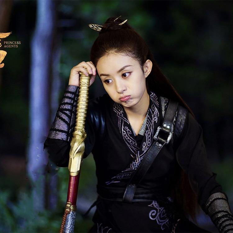 Unisexual Male Female Zhao LiYing Swordlady Black Costume Hanfu For Newest TV Play Princess Agents Legend Of ChuQiao Women Hanfu