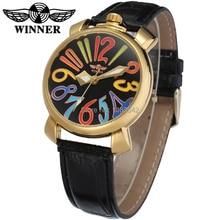 Новый Победитель Смотреть женский стиль Завод Магазин Высочайшее Качество золота Автоматические Часы черный кожаный ремешок Бесплатная Доставка WRL8071M3G1