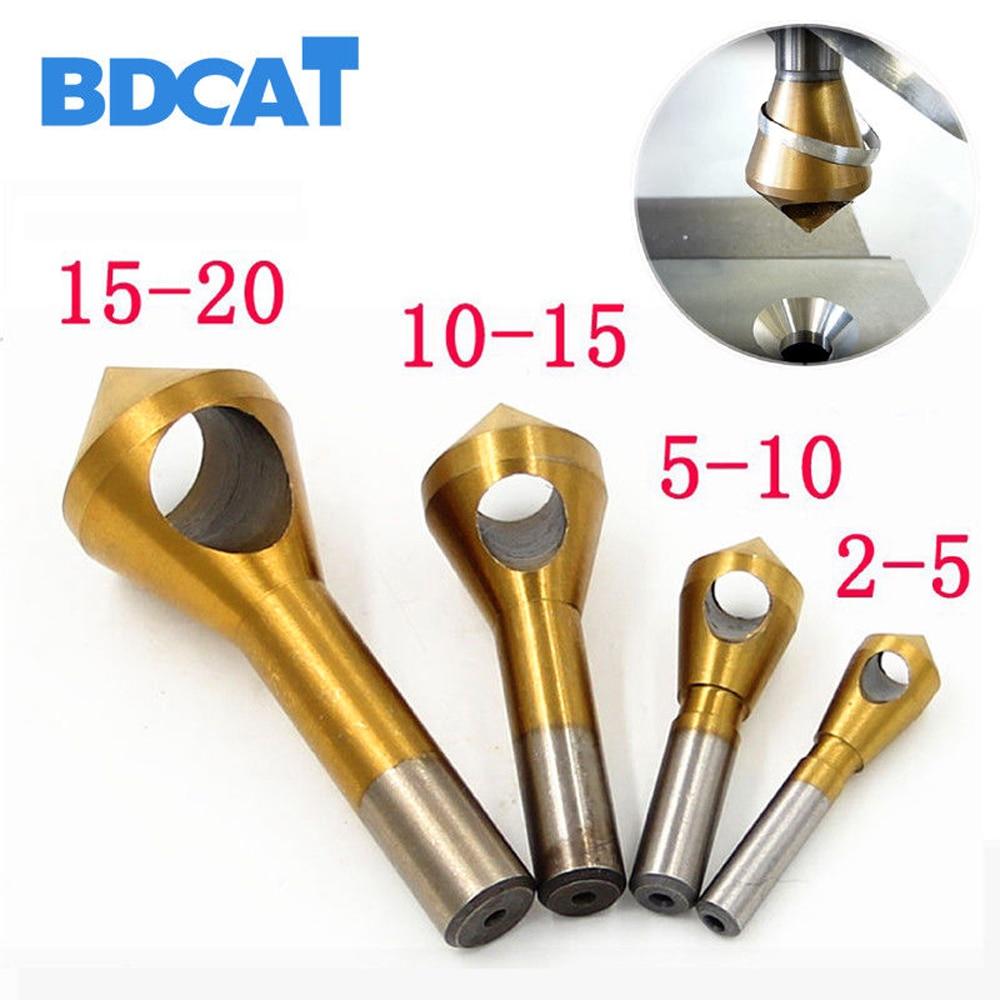 BDCAT 4 pcs/ensemble 2-5mm 5-10mm 10-15mm 15-20mm Titane enduit Fraise et Ébavurage Forets Center Expansion Étape Chanfreinage