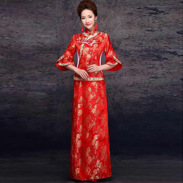 China Wedding Dress Chinese Traditional Red Bride Marry Qipao Dresses Phoenix Cheongsam Robe Chinoise Vintage Qi Pao Cheap