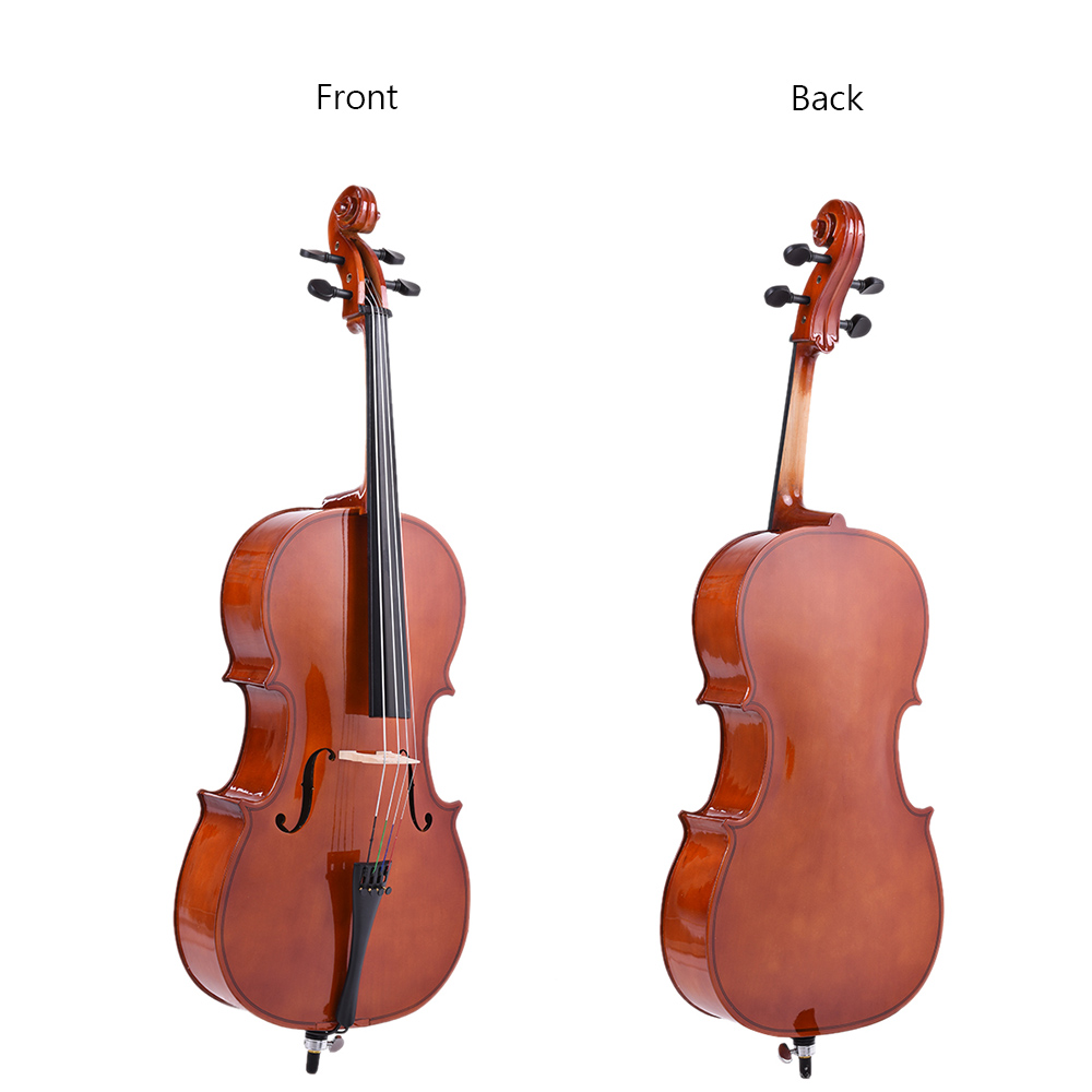 1/2 Wooden Cello Gloss Finish Basswood Face Board With Bow Rosin Carrying Bag For Students Music Lovers