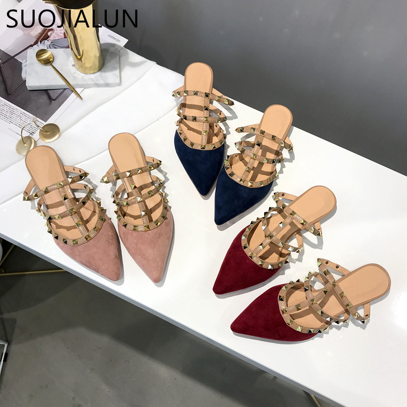 SUOJIALUN Brand Women Luxury Rivet T-strap Flat Mules Slipper Woman Pointed Sandal Shoes Flat Suede Slides Slip On Loafers MulesSUOJIALUN Brand Women Luxury Rivet T-strap Flat Mules Slipper Woman Pointed Sandal Shoes Flat Suede Slides Slip On Loafers Mules