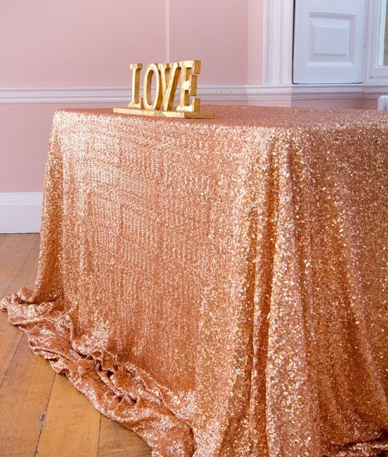 Lqiao Embroidered Sequin Tablecloth 60x120 Inch Rectangle Bling Rose Gold Table Cloth For Wedding