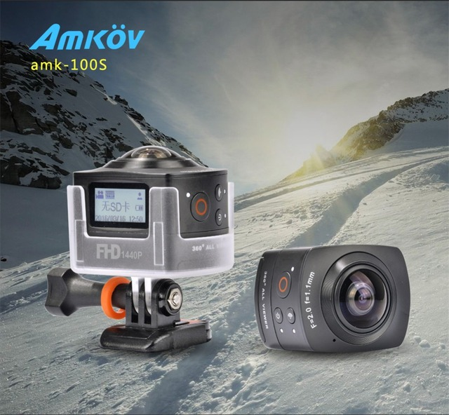 New Arrival AMKOV 100S AMK100S 360 Degree All View 1440P@30FPS HD WiFi Sport Camera Sweep Panoramic Camera Action Camera
