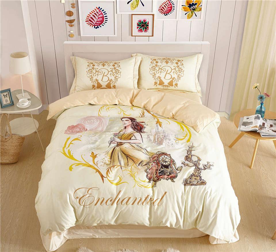 Disney Bellezza e la Bestia Belle Principessa Bedding Set per Le Ragazze Home Decor 600TC Cotone Copriletto Singola Doppia Completa Queen Size