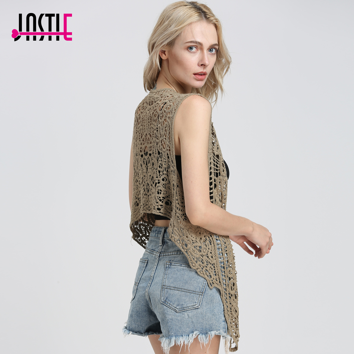 Jastie Asymmetric Open Stitch Cardigan Summer Beach Boho Hippie People Style Crochet Knit Embroidery Blouse Sleeveless Vest 2019
