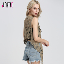 Jastie Asymmetric Open Stitch Cardigan Summer Beach Boho Hippie People Style Crochet Knit Embroidery Blouse sleeveless Vest