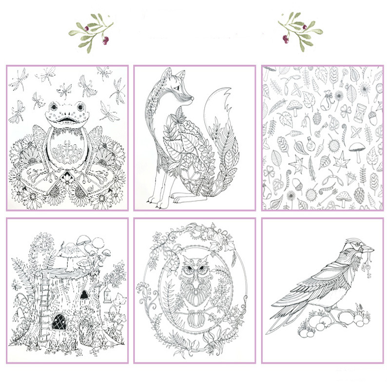 Enchanted Forest Coloring Book 12 Colors Pencil An Inky Treasure Hunt For Children Adult Relieve Stress Painting Drawing In Books From Office School