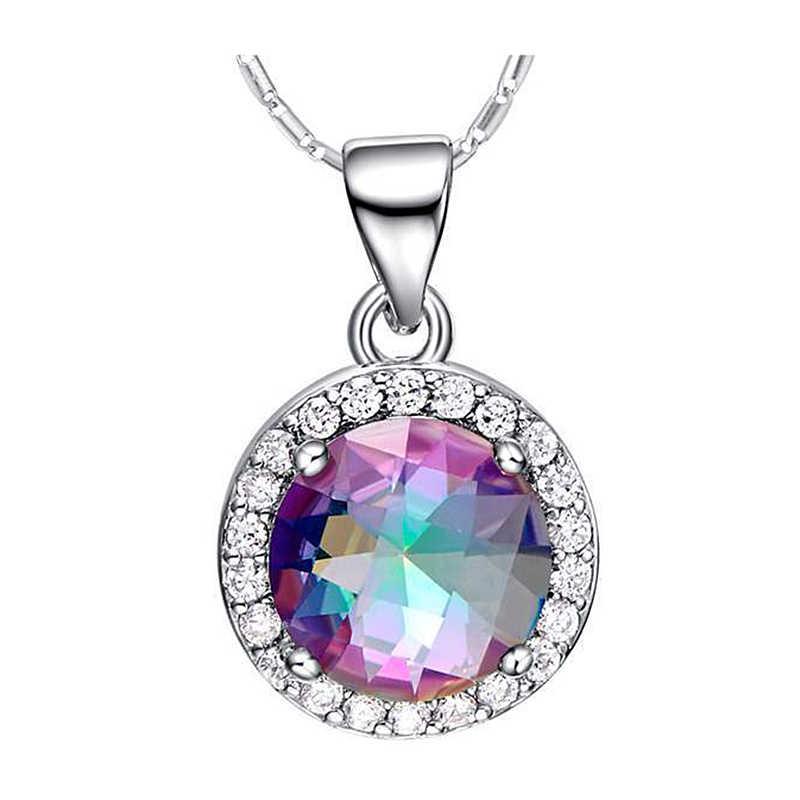 PANSYSEN ожерелье с подвеской из твердого 925 пробы серебра с драгоценным камнем и радужным топазом, романтичный свадебный подарок для женщин, хорошее ювелирное изделие