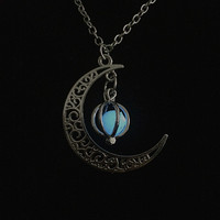 New Glowing Moon Pumpkin Pendant Alloy Halloween Necklace Hollow Luminous Novelty Gag Toys