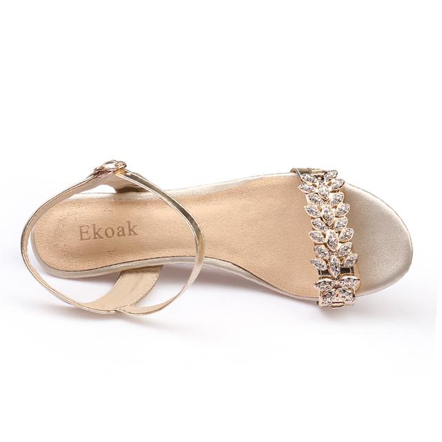 Ekoak New 2017 Summer Fashion Women Sandals Sexy Crystal Bling Medium Heels Shoes Woman Wedges Sandals Party Dress Shoes