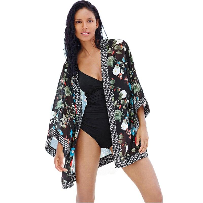 2017 חולצות נשים שיפון חדשות אפודות glory המודפס קימונו בוקר בסגנון קיץ אופנה ביקיני כיסוי ups חוף ללבוש לנשים