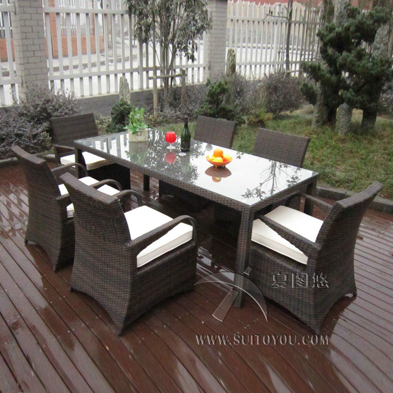 7 Pcs Rattan Garden Dining Sets , Washable Resin Wicker Patio Furniture Transport By Sea