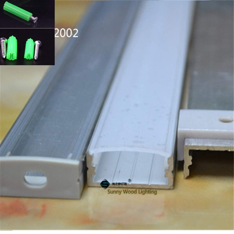 Image 4 - 5 30pcs/lot 40inch 1m flat aluminum profile for double row led strip,milky/transparent cover channel for 20mm pcb with fittings-in LED Bar Lights from Lights & Lighting