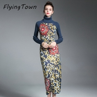 FlyingTown Women Sweater Dress Winter Long Sleeve High Collar Flower Knitting Pattern Slim Sheath Office Female