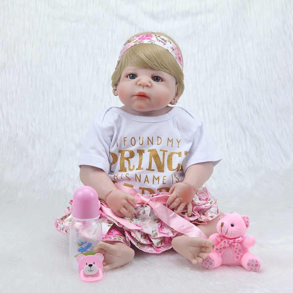 """Nova 23 """"corpo cheio de silicone bonecas reborn brinquedos menina crianças do presente do bebê reborn vivo com corpo de silicone menina bonecas"""