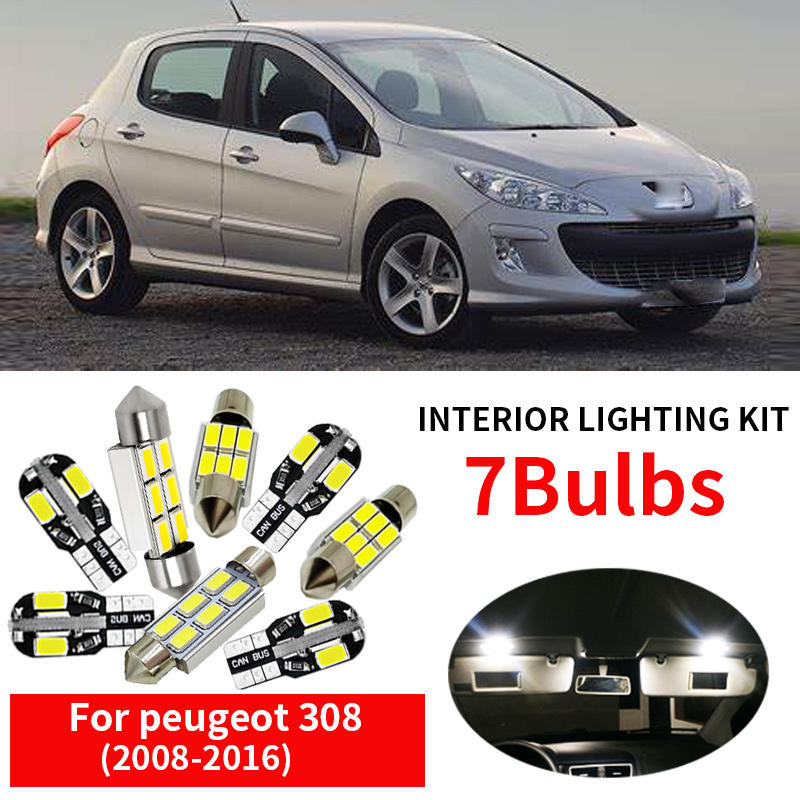 7pcs free shipping Error Free LED <font><b>Interior</b></font> Light Kit Package <font><b>for</b></font> 2008- 2016 <font><b>peugeot</b></font> 308 <font><b>accessories</b></font> image