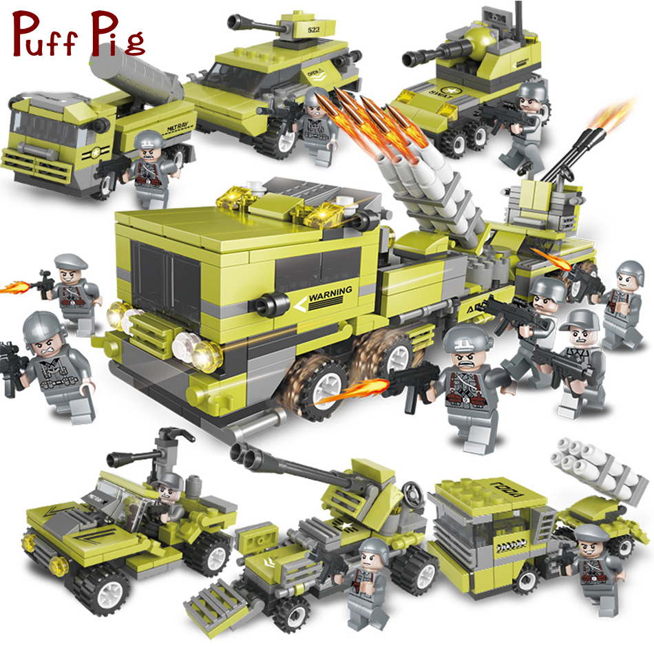 657PCS 6in1 Military Vehicles Army Figures Soldiers with Weapons Building Blocks Compatible Legoed ww2 Bricks Toys For Children