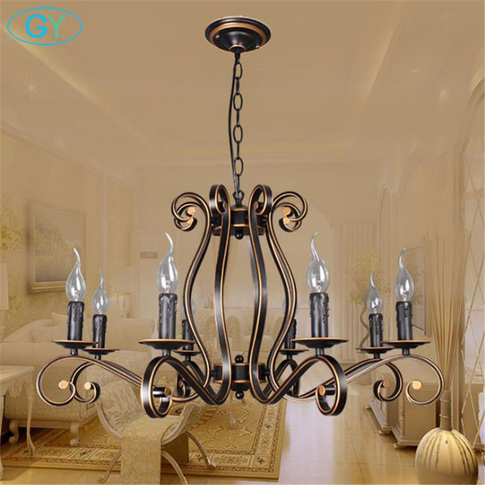 2018 New Europe Style wrought iron chandelier Vintage E14 candle lustres lighting for living room dining room hanging lamp wrought iron chandelier e14 3pcs led candle light white vintage rustic pendant lamp for home study room living room