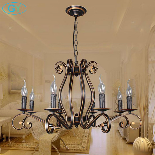 2018 new europe style wrought iron chandelier vintage e14 candle 2018 new europe style wrought iron chandelier vintage e14 candle lustres lighting for living room dining aloadofball Gallery
