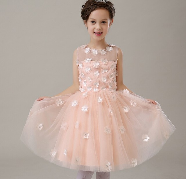 2015 Brand New Flower Girl Dresses Pink Real Party Pageant Communion ...