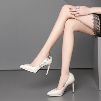 Fashion Women's High Heels Shallow Office Shoes New Arrival Solid Cowhide Pointed Toe Women Pumps Super High 10CM Sexy Shoes