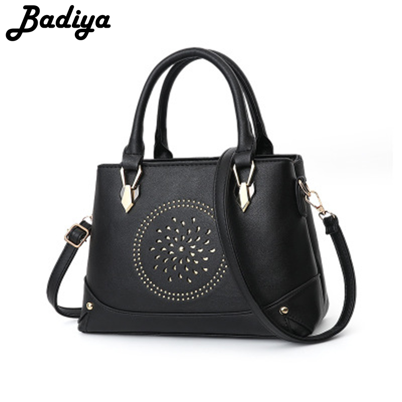 New Geometry Hollow Design Bags for Women High Quality PU Leather Shoulder Bags Casual Shopping Messenger bags Casual Zipper Bag
