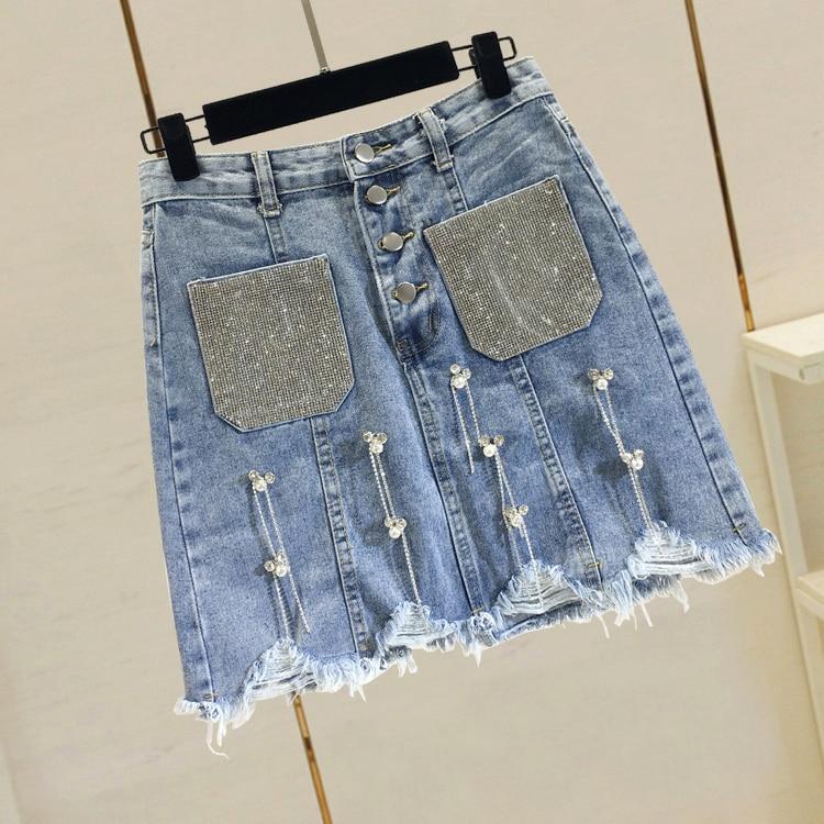 New Spring Summer Denim Skirts Women Hot Drilling Pocket Beading Tassel Short A-line Skirts High Waist Slim Hip Students Skirt