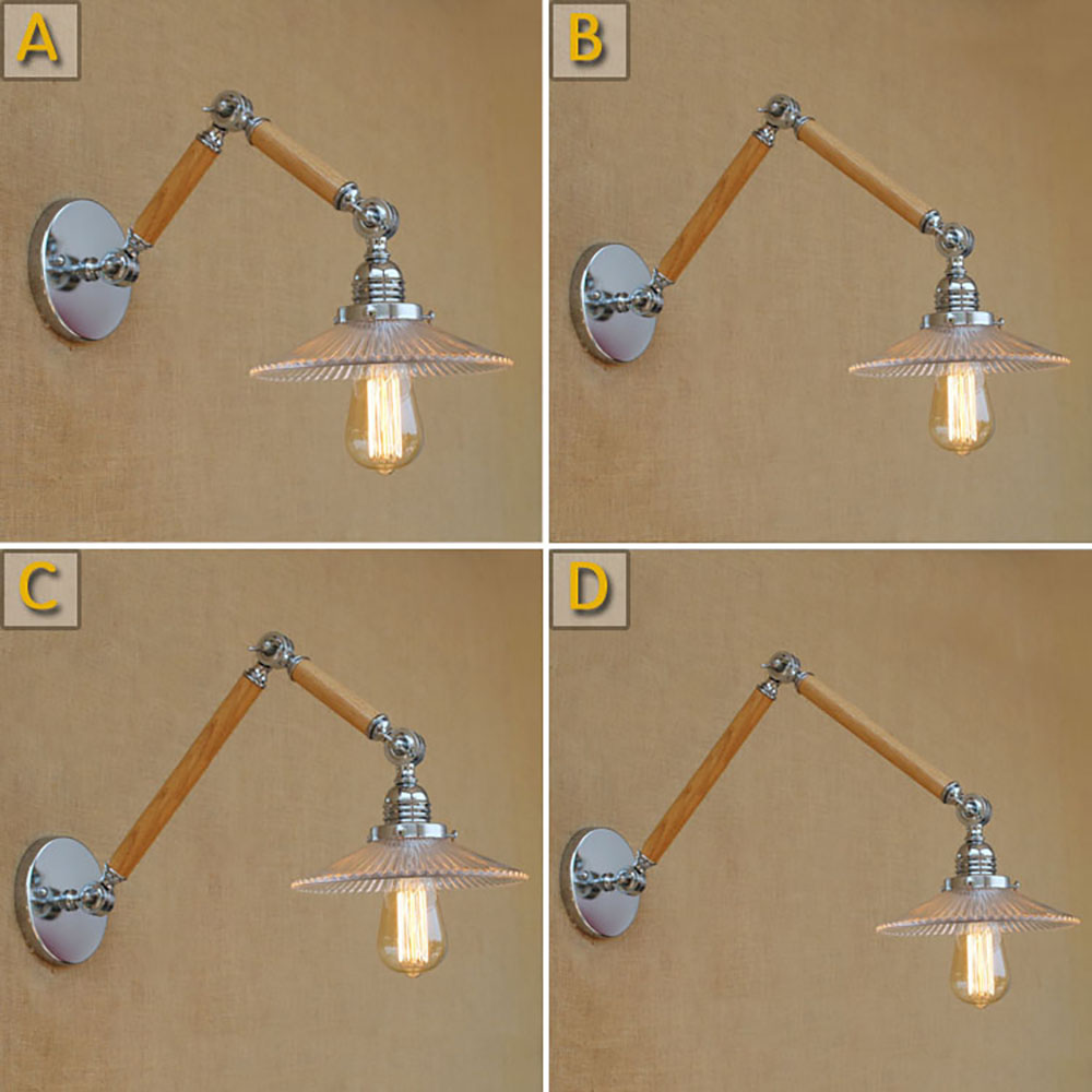 Modern adjustable swing arm wood glass shade wall lamp reading E27/E26 led vintage light for workroom bedroom living room bar
