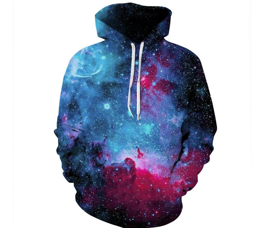 New 2018 Autumn Men/Women 3d Sweatshirts Print Stars Space Galaxy Hooded Hoodies Unisex Pullovers Colorful Nebula Thin Hoody